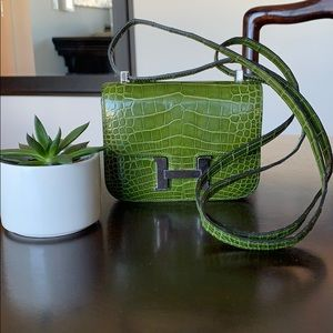 Hermès Crocodile Lime Green Mini Constance Bag Q